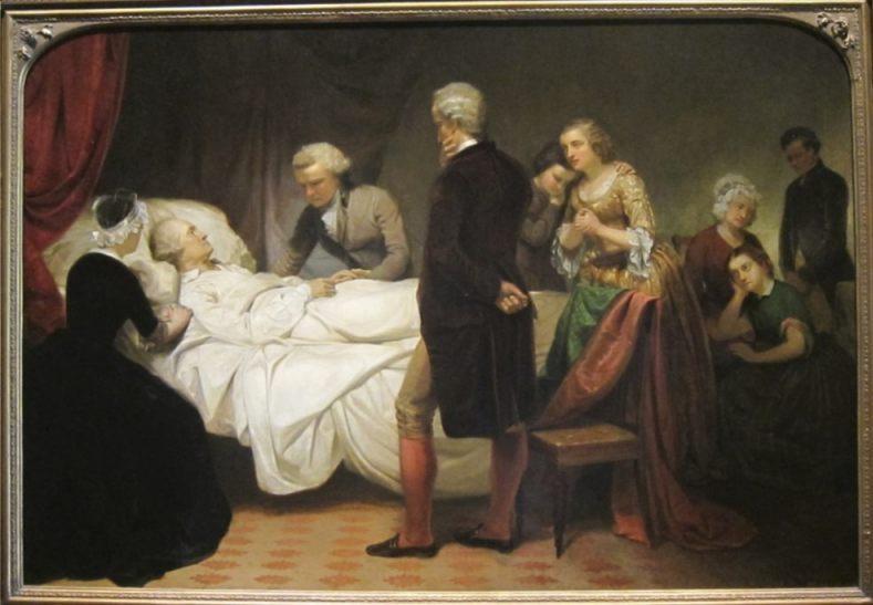 George Washington op zijn sterfbed - Junius Brutus Stearns 1799