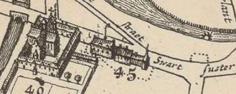 Het klooster van de zwartzusters, naast dat van de rijke klaren (stadsplan Brussel 1695)