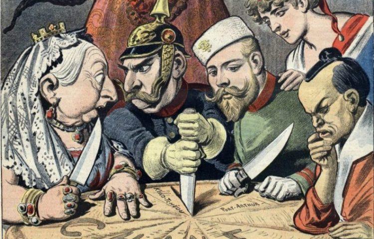 Imperialisme - Vertegenwoordigers van enkele grote mogendheden verdelen China (Publiek Domein - wiki)