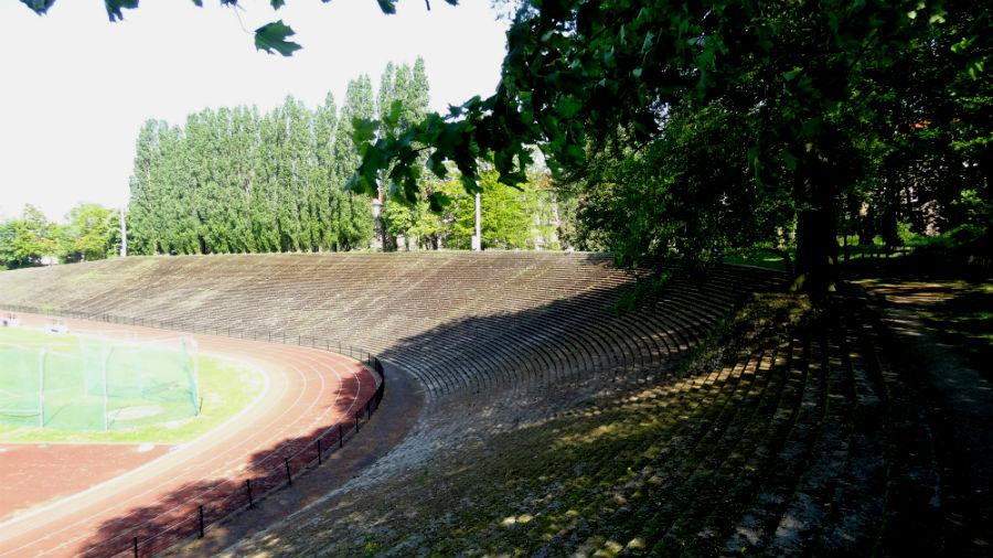 In het stadion verwerkte boom (Foto Paul Prillevitz)