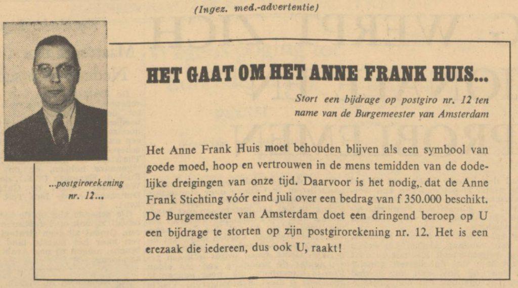 Oproep van burgemeester Van Hall in het Algemeen Handelsblad van 17-06-1958 (Delpher)
