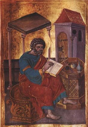 Marcus de evangelist op een zestiende-eeuws Russisch icoon (PubliekDomein - wiki)