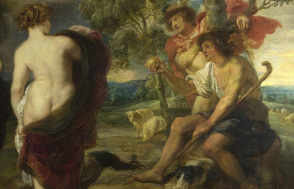 Paris met de twistappel - Detail van een schilderij van Peter Paul Rubens