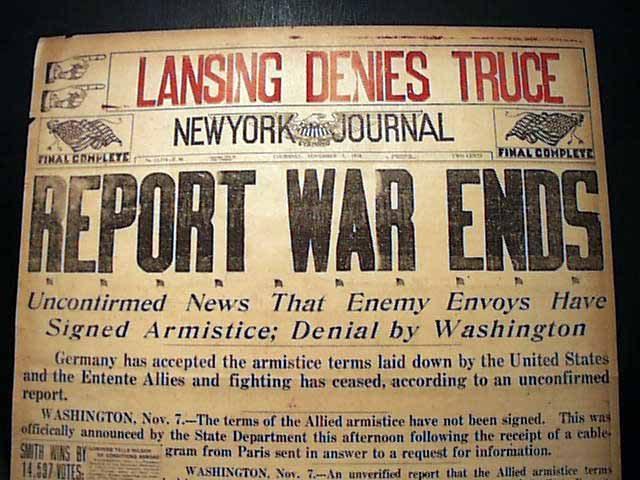 New Yorkse krant meldt dat er een wapenstilstand is op… 7 november.