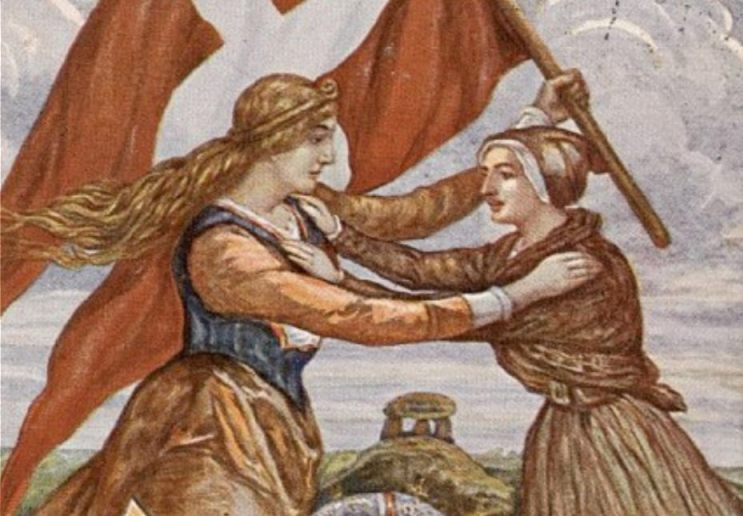 Ansichtkaart uit de jaren twintig - Moeder Denemarken verwelkomt Zuid-Jutland (CC BY-SA 3.0 - wiki)