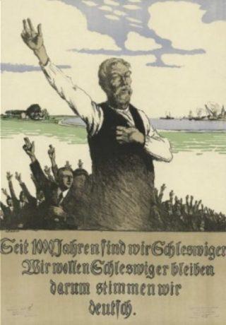 Duitse affiche waarin opgeroepen voor behoud van de Duitse status te stemmen (Publiek,Domein - Kongelig Bibliotek)