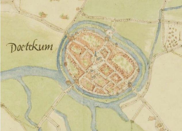 Vroegst bekende plattegrond van Doetinchem, door Jacob van Deventer. (Jacob van Deventer - Het Gelders Archief, wiki)