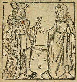Houtsnede voorstellende Floris en Blancefloer in een druk van Jan van Doesborch uit ca. 1517