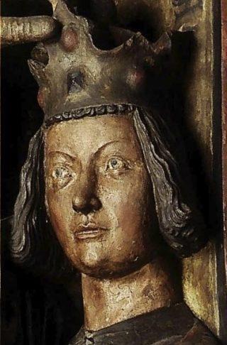 Graaf-koning Willem II in 1249-50. Detail uit de grafzerk van aartsbisschop Siegfried van Eppstein (+1249), in de dom van Mainz (10-12)