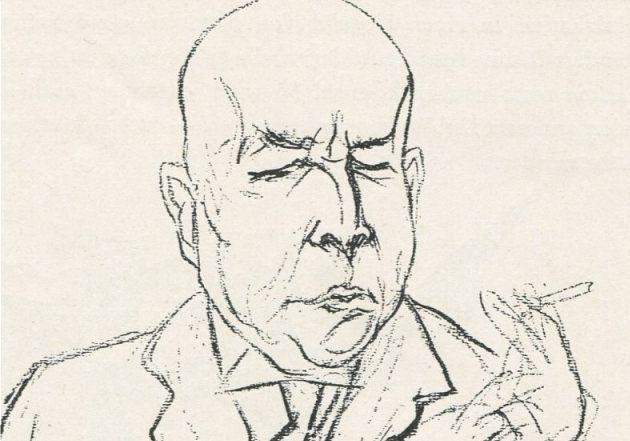 Oswald Spengler, tekening van Rudolf Großmann im Simplicissimus, 1922 (Publiek Domein - wiki)