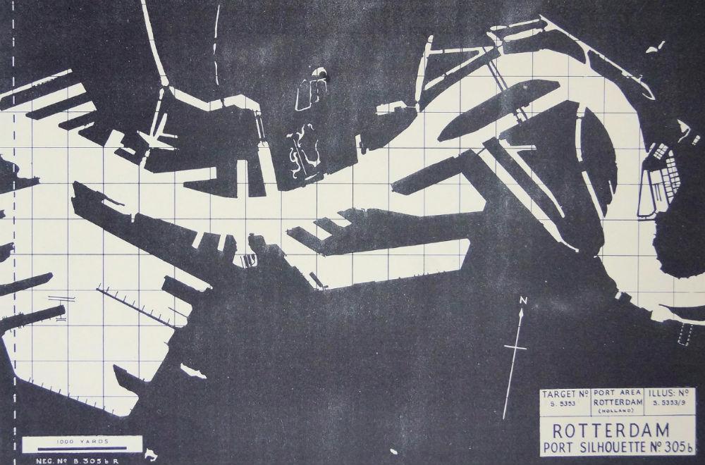 De Britse nachtbombardementen op Rotterdam, 1940-1942 - Silhouetkaart van Rotterdam (NARA)
