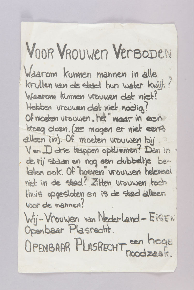 Pamflet van Nora Rozenbroek voor plasrecht voor vrouwen (Amsterdam Museum)
