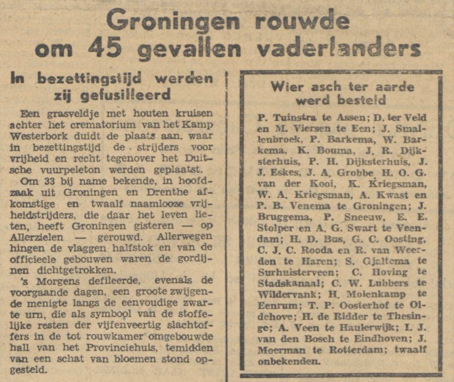 Provinciale Drentsche en Asser courant,  3-11-1945 (Delpher)