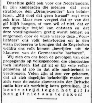 NSB-krant 'Volk en Vaderland' over Radio Oranje - 29 augustus 1941 (Delpher)