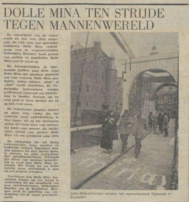 Het Parool over de actie van de Dolle Mina's (Delpher)