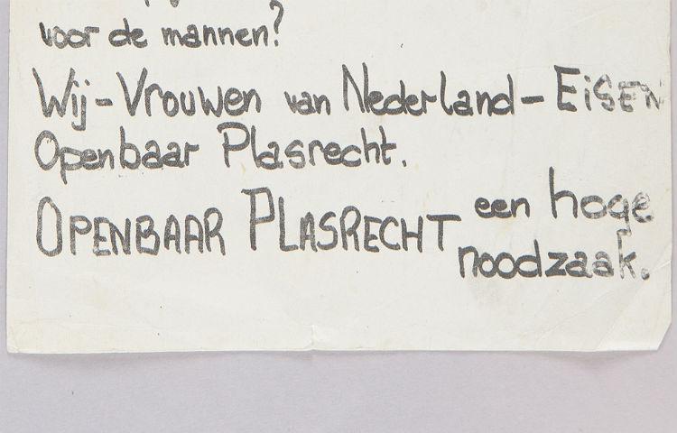 Deel van het pamflet van Nora Rozenbroek voor plasrecht voor vrouwen (Amsterdam Museum)