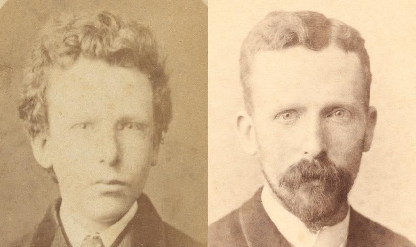 Links de foto van de naar nu blijkt jonge Theo, met rechts een foto van hem op 32-jarige leeftijd - Foto: Woodbury & Page, Amsterdam, Van Gogh Museum, Amsterdam (Vincent van Gogh Stichting)