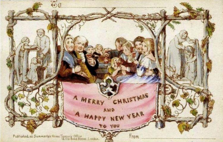 Commerciële kerstkaart van Henry Cole uit 1843 (Publiek Domein - wiki)