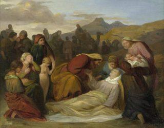 De dood van Rachel, na de geboorte van Benjamin - Gustav Ferdinand Metz, circa 1847