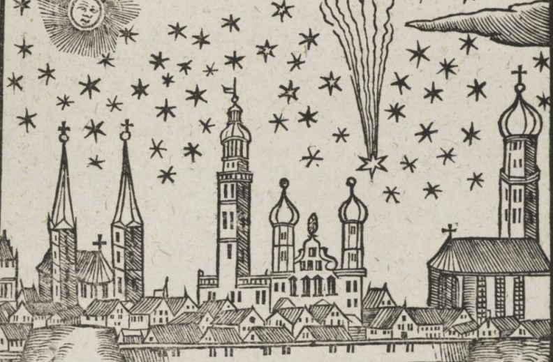 De komeet van 1618 boven Augsburg - Elias Ehinger (Publiek Domein - wiki)