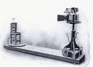 De opstelling van Bertillon voor het fotograferen van verdachten (Publiek Domein - wiki)