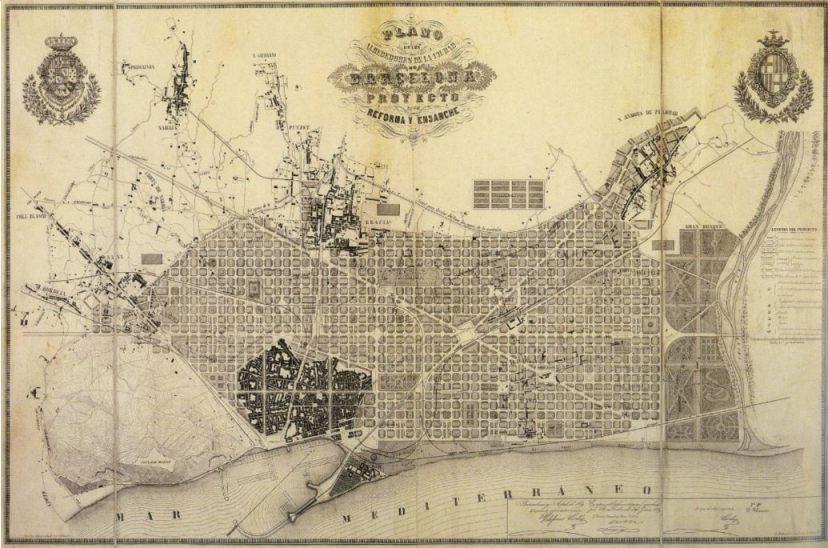 De stadsuitbreiding van Barcelona volgens Ildefonso Cerdà (Publiek Domein - wiki)