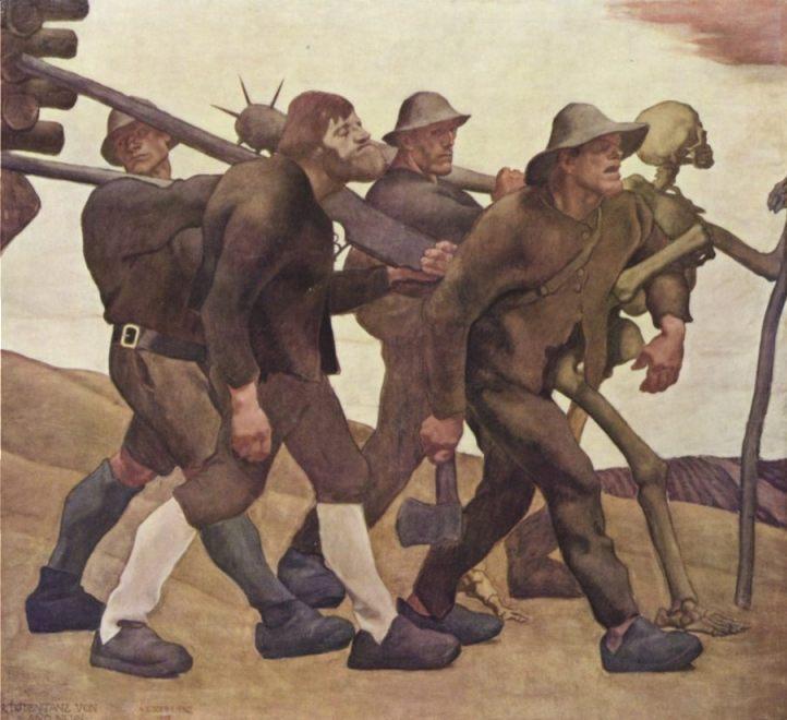 Der Totentanz von Anno Neun, 1908 – Albin Egger-Lienz (Publiek Domein – wiki)