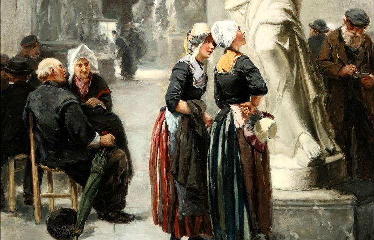 'Een bezoek aan het Louvre, Parijs' - Johannes Marius ten Kate (1881)