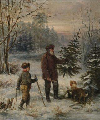 Een vader kapt een kerstboom met zijn zoon - Franz Krüger