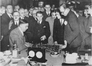 Foto gemaakt tijdens de strijd om de wereldtitel in 1935