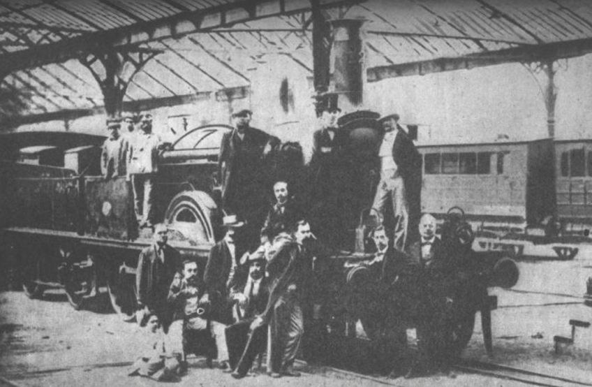 Foto van aandeelhouders en bouwers van het spoortraject Barcelona - Mataró, circa 1848 (Publiek Domein - wiki)