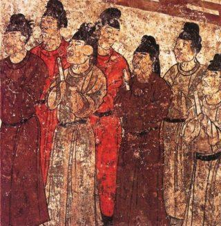 Groep eunuchen op een muurschildering uit het oude China