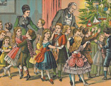 Kinderen rond een kerstboom - H.J. Overbeek, 1877