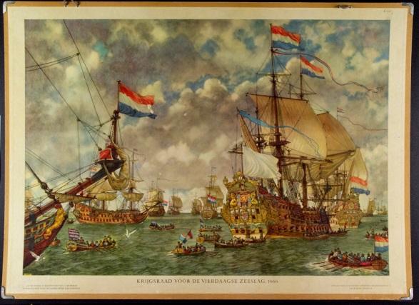 Een prent waarop oorlogsschepen te zien zijn voorafgaand aan de Vierdaagse Zeeslag in 1666. Een schip ligt met de achterkant (de spiegel) naar de kijker toe waardoor je de prachtige versieringen ziet. De witte vlag en blauwe wimpel zijn een signaal voor kapiteins om aan boord te komen van het vlaggenschip; het was tijd voor beraad. Collectie Het Scheepvaartmuseum