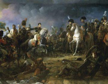 Slag bij Austerlitz - Rapp toont de veroverde vaandels aan Napoleon, door François Gérard.