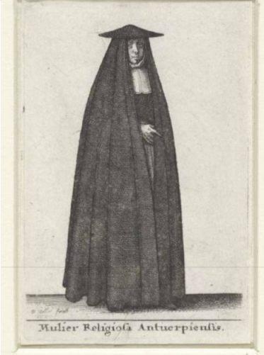 Vrouw in een huik - Wenceslaus Hollar, 1643
