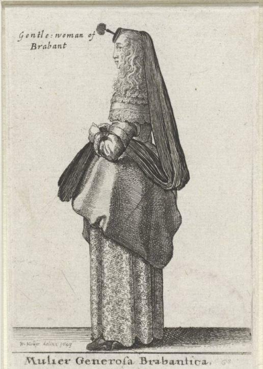 Brabantse variant van de huik - Ets uit 1643 gemaakt door Wenceslaus Hollar (Rijksmuseum Amsterdam)