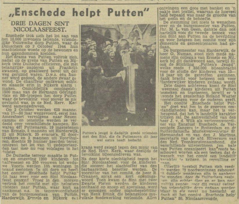 Bericht in de Twentsch dagblad Tubantia en Enschedesche Courant (Delpher)