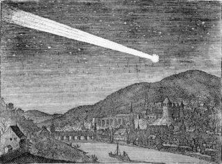 Komeet van 1618 boven Heidelberg - Matthäus Merian (Publiek Domein - wiki)
