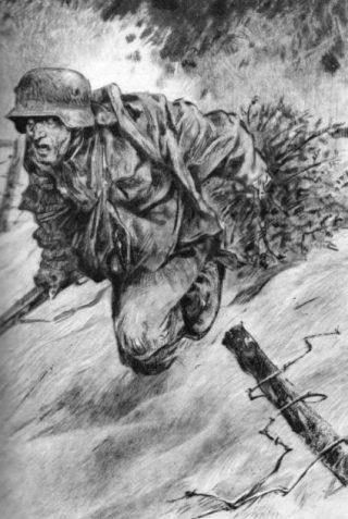 Een Duitse soldaat waagt zijn leven om een kerstboom naar zijn eigen linie te brengen. Afbeelding uit 'Deutsche Kriegsweihnacht' uit 1944. (Collectie auteur)