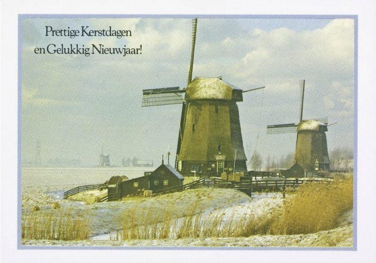 Oude kerstkaart met daarop enkele Noord-Hollandse poldermolens (CC BY-SA - Europeana)