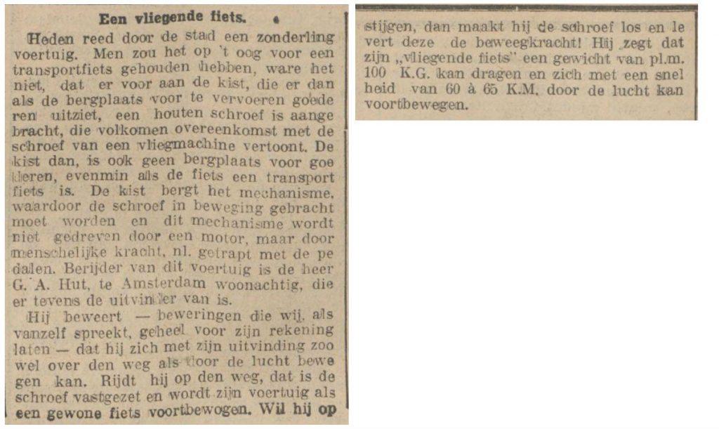 Rotterdamsch nieuwsblad over de vliegende fiets - 24-07-1928 (Delpher)