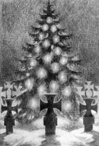 Kerstboom bij Duitse oorlogsgraven. Afbeelding uit 'Deutsche Kriegsweihnacht' uit 1944. (Collectie auteur)