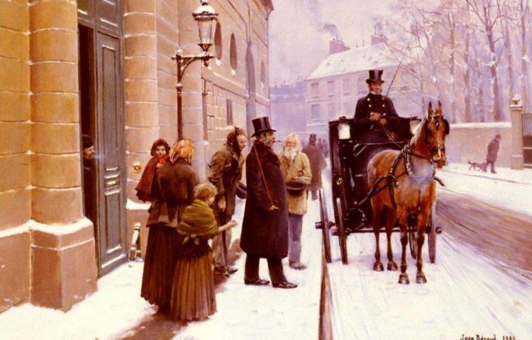 Bourgeoisie - La sortie du bourgeois, geschilderd door Jean Béraud (1889)