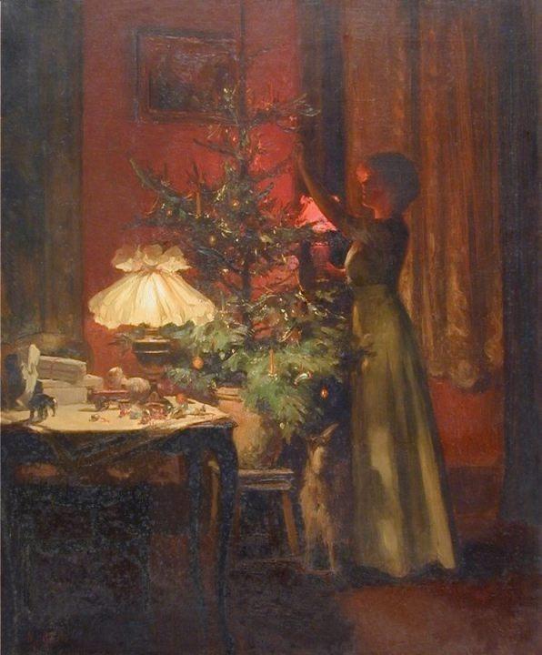 Een jonge vrouw versiert een kerstboom - Marcel Rieder, 1898 (Publiek Domein - wiki)
