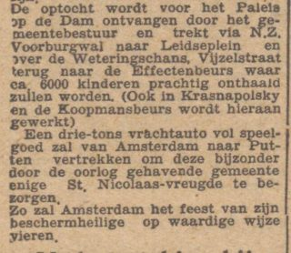 Bericht over de viering in Amsterdam en de actie voor Putten -  De waarheid,  31-10-1945 (Delpher)