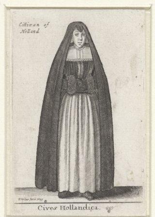 Vrouw uit Holland, gekleed in een huik - Ets uit 1643 gemaakt door Wenceslaus Hollar (Rijksmuseum Amsterdam)