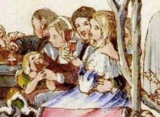 Detail van de tekening op de kerstkaart van Cole