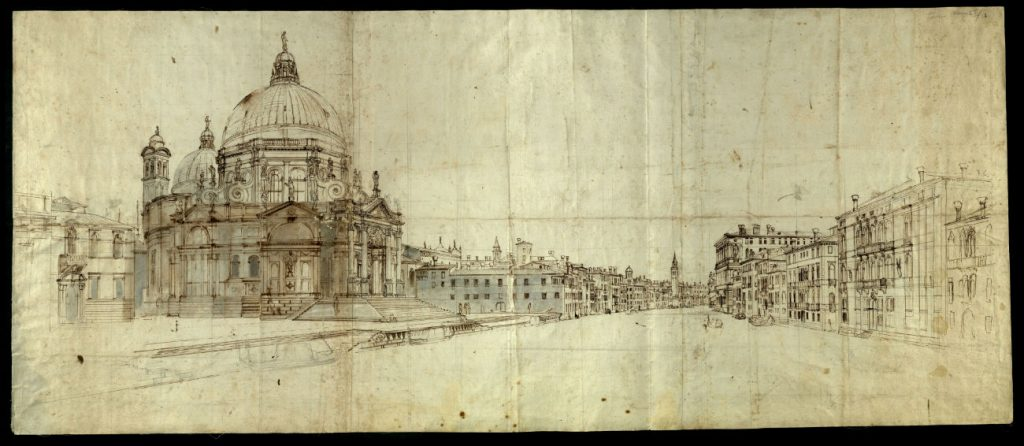Caspar van Wittel, Venetië, Gezicht op de Salute en Canal Grande, 17e eeuw, tekening in inkt met aquarel, 50,2 x 118,2 cm, Biblioteca Nazionale Centrale Vittorio Emanuelle II, Rome