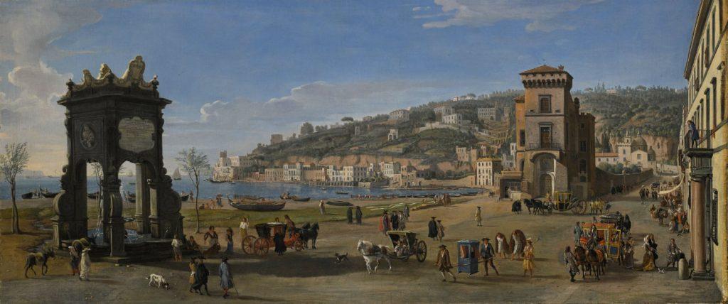 Caspar Van Wittel, Napels, Riviera di Chiaia, 1710-20, olie op doek, 75,7 x 174,8 cm, Courtesy Lampronti Gallery